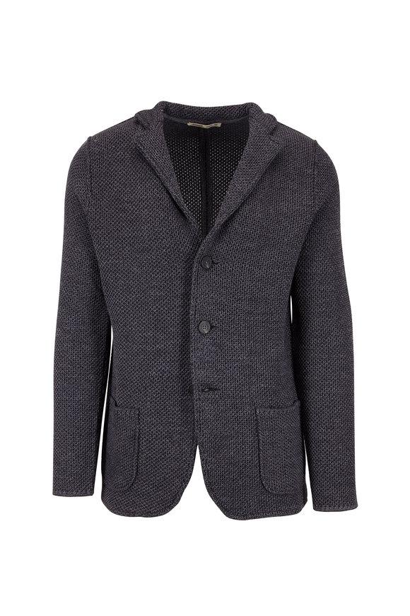 Maurizio Baldassari Charcoal Gray Three Button Knit Jacket