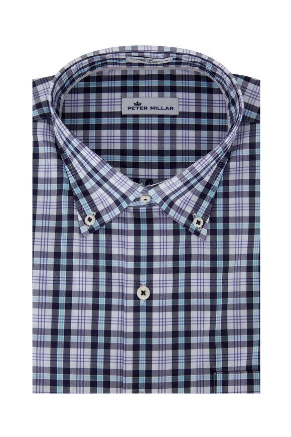 Peter Millar  Navy Blue Moritz Plaid Sport Shirt