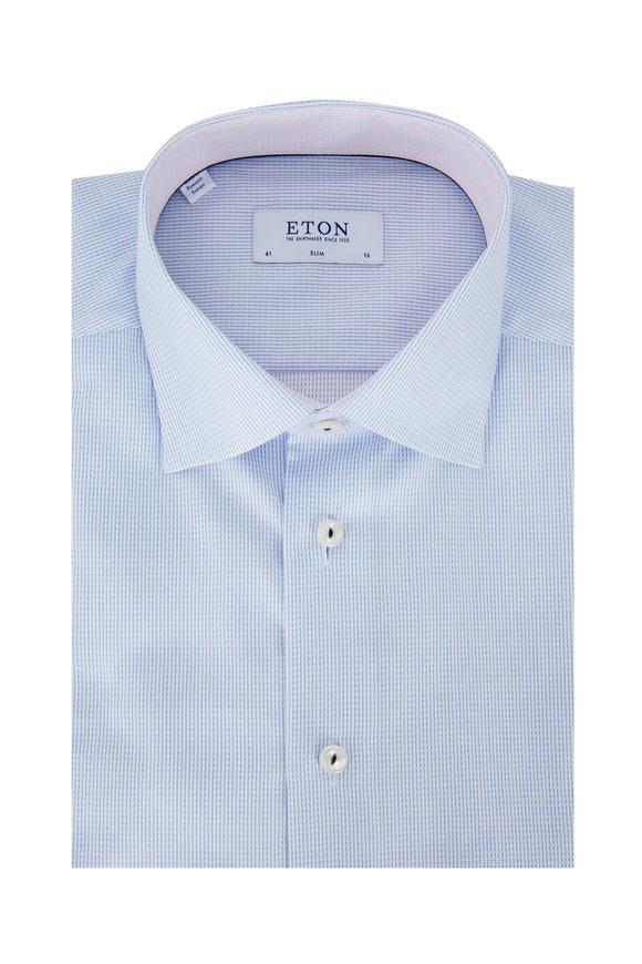 Eton Light Blue Textured Slim Fit Dress Shirt
