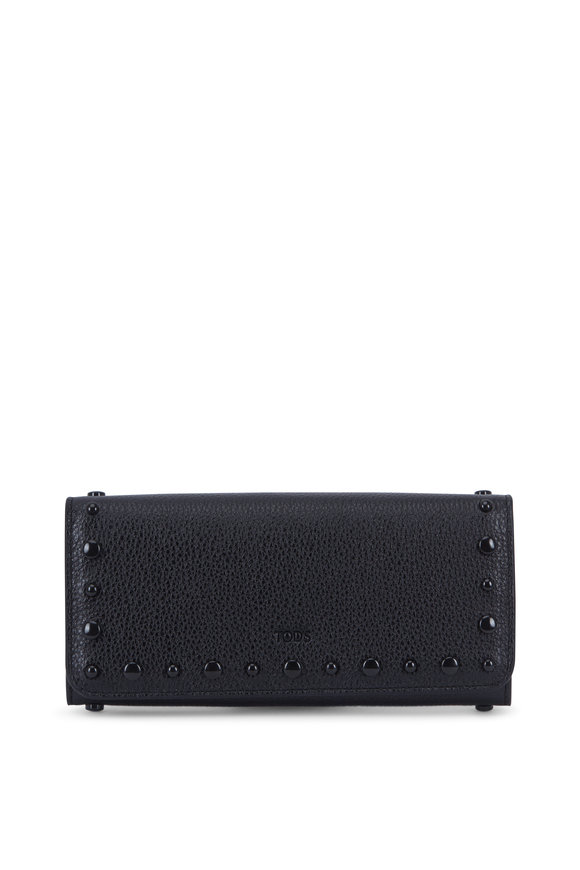 Tod's Black Pebbled Leather Studded Wallet