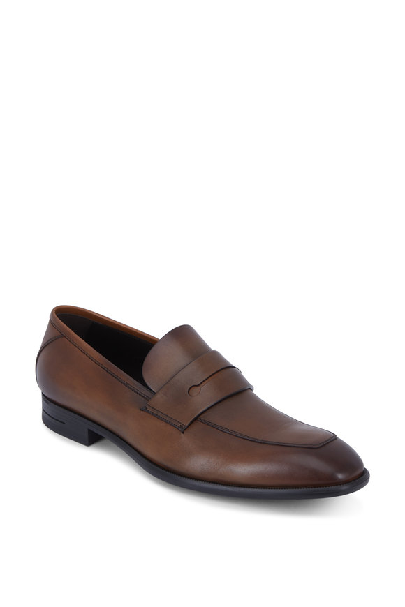 Ermenegildo Zegna L'Asola Medium Brown Leather G-Flex Penny Loafer