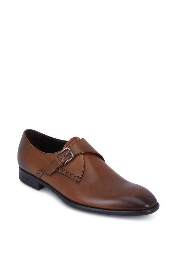 Ermenegildo Zegna Medium Brown Leather G-Flex Monk Shoe