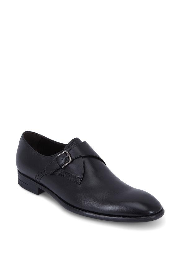 Ermenegildo Zegna Black Leather G-Flex Monk Shoe