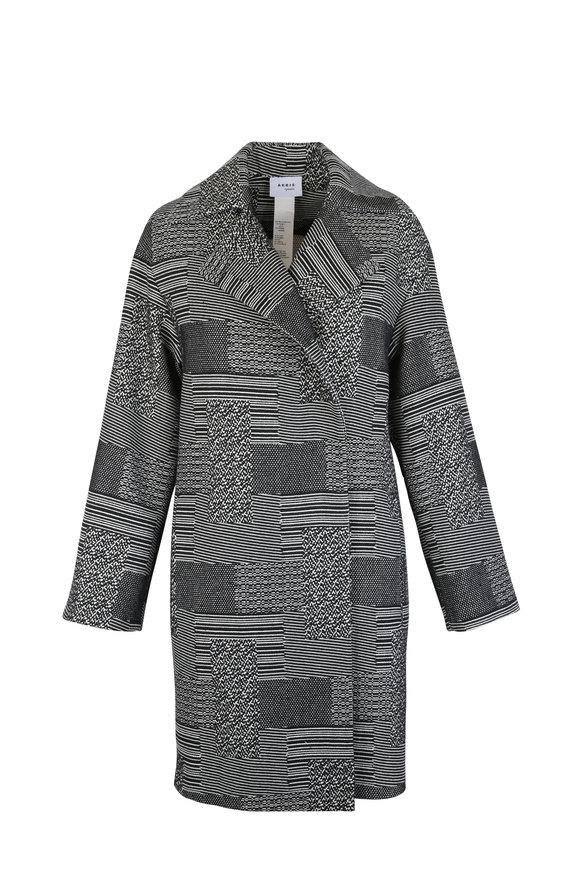 Akris Punto Black & Cream Patchwork Cocoon Coat