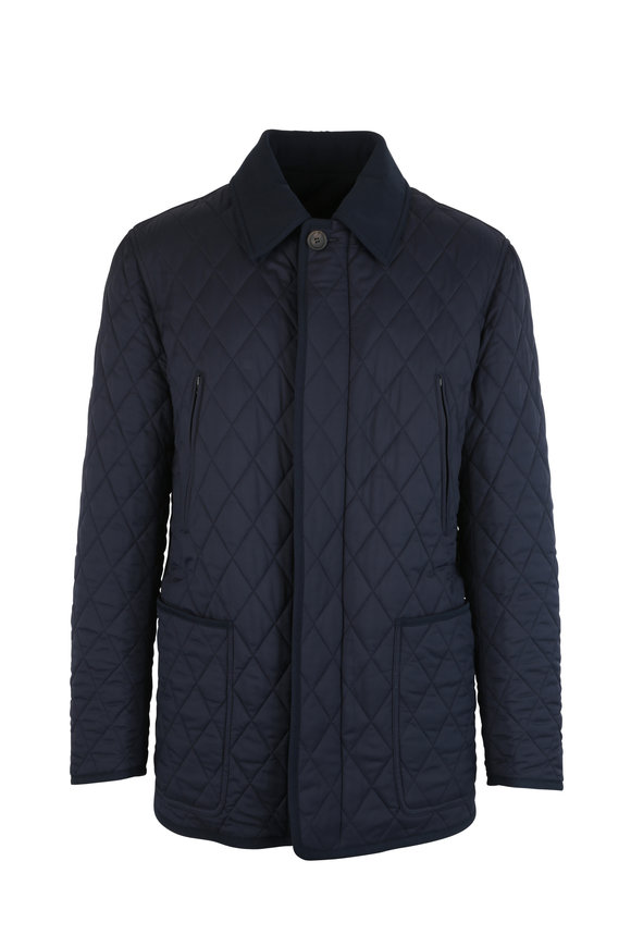 Brioni Navy Blue Reversible Quilted Jacket