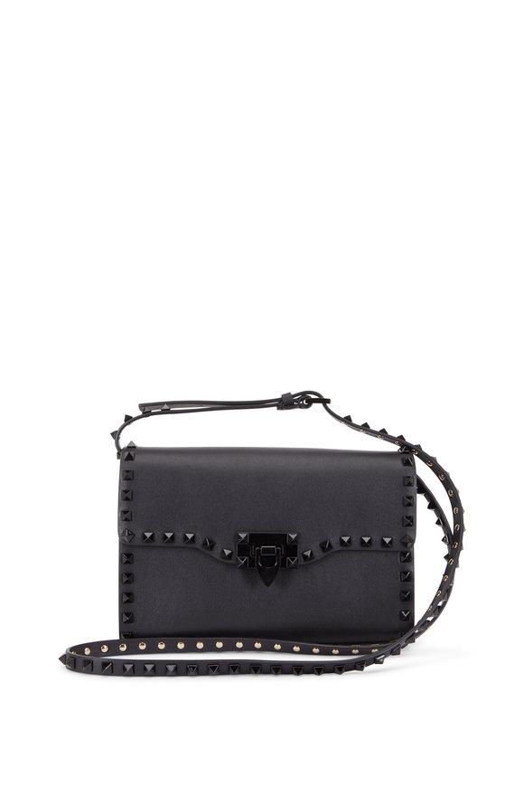 Valentino Garavani Rockstud Black Leather Medium Shoulder Bag