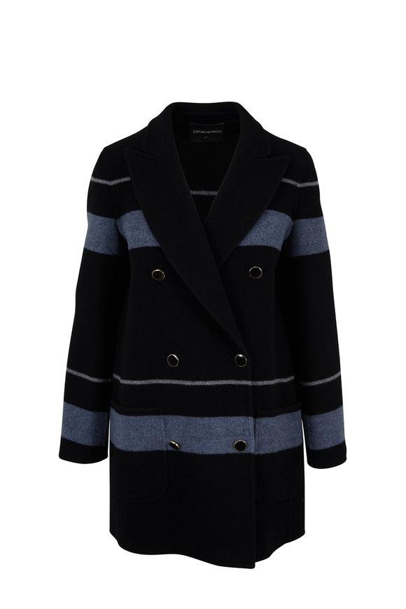 Emporio Armani Black & Gray Striped Double-Breasted Coat