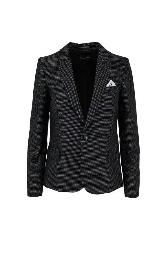 Emporio Armani Black & White Dot Jacquard Boxy Blazer