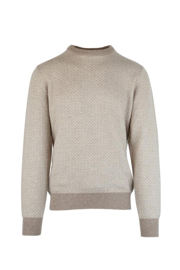 Luciano Barbera Tan Cashmere Crewneck Sweater