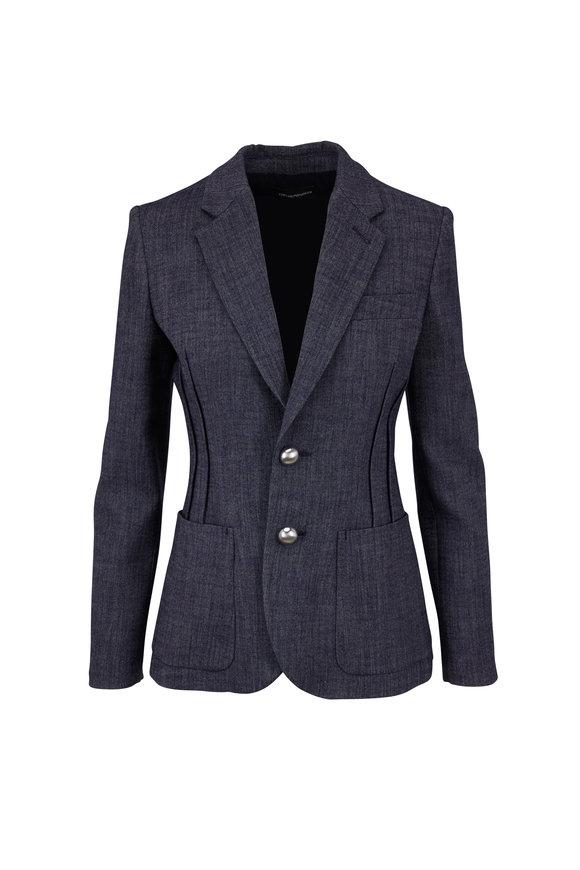 Emporio Armani Blue Melange Double Button Jacket