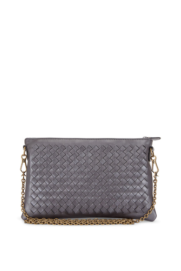 Bottega Veneta Anthracite Intrecciato Chain Zip Pouch