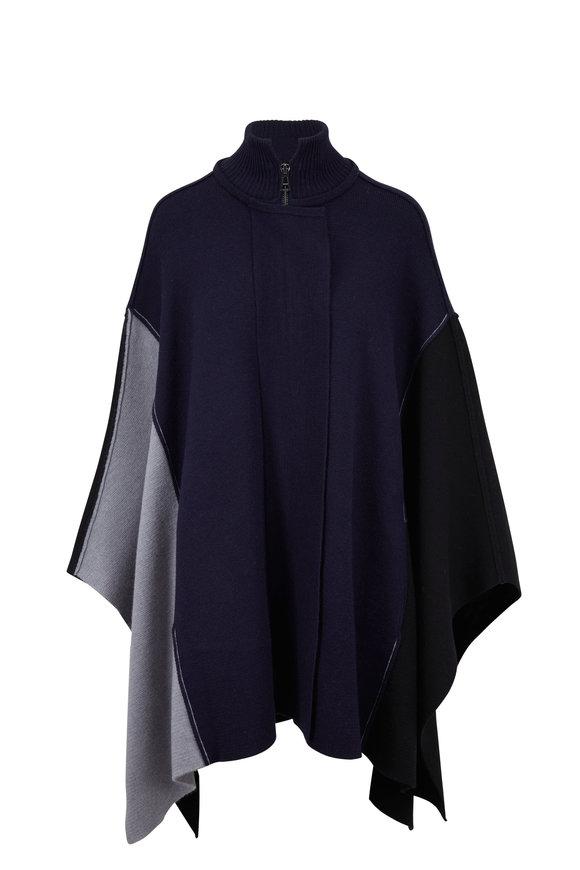 Chloé Navy & Gray Wool Front Zip Cape
