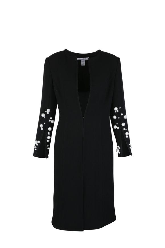Oscar de la Renta Black Wool Crepe Pearl Embroidered Coat