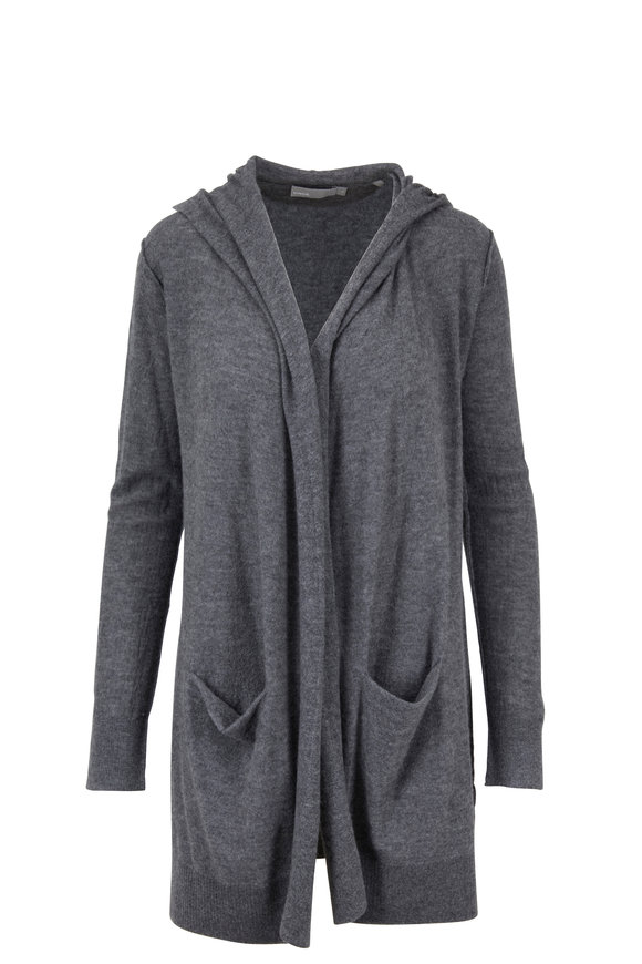 Vince Heather Stone Cashmere Hooded Cardigan