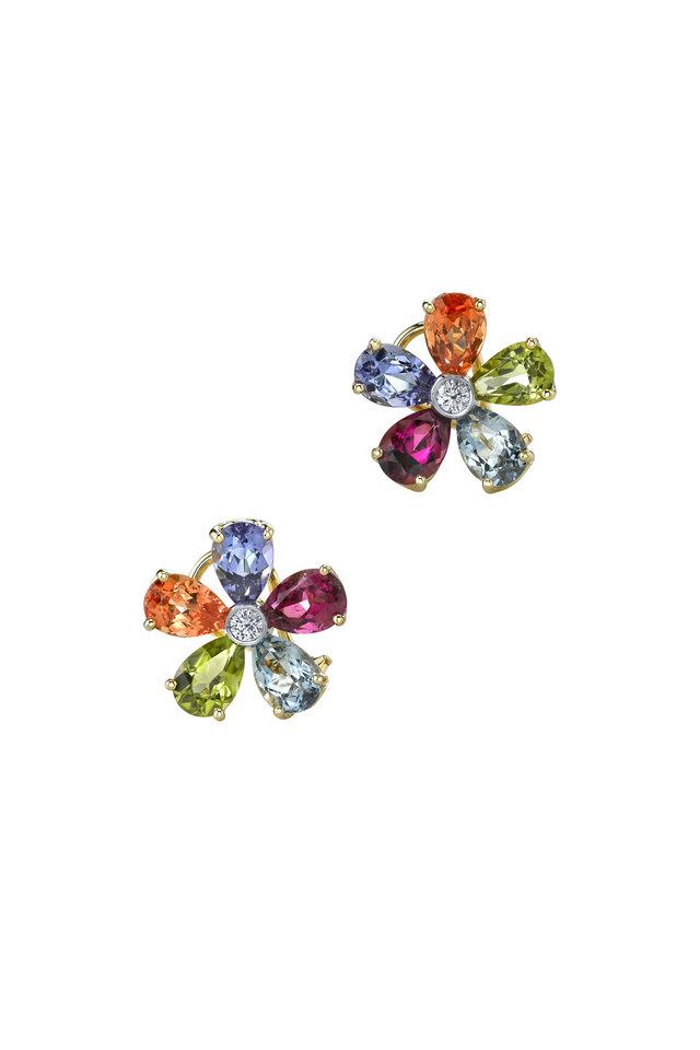 Yellow Gold Gemstone Flower Diamond Earrings