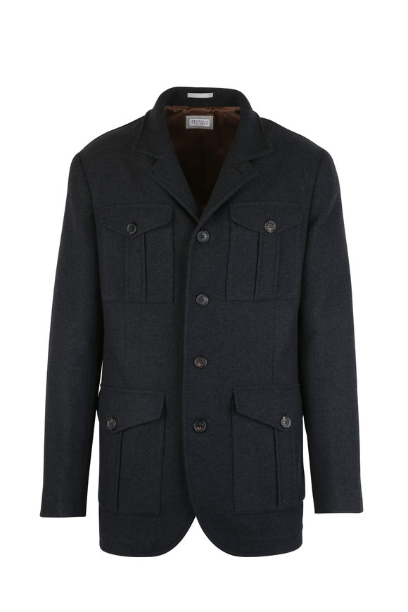 Brunello Cucinelli Gray Wool & Cashmere Coat