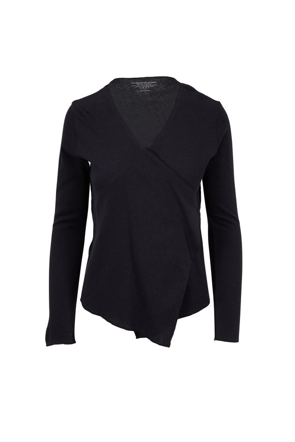 Majestic Black & Anthracite Drape Front Cardigan