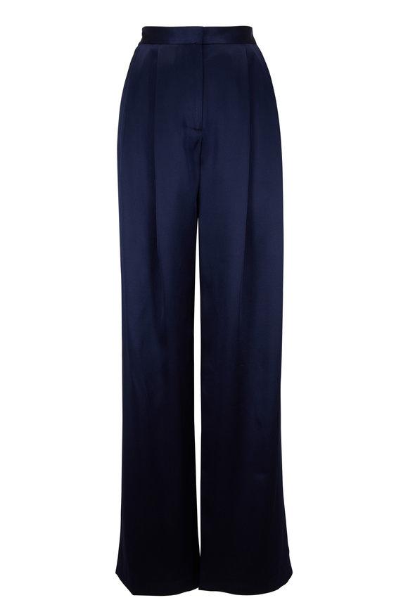 Adam Lippes Navy Silk Pleat Front Pant