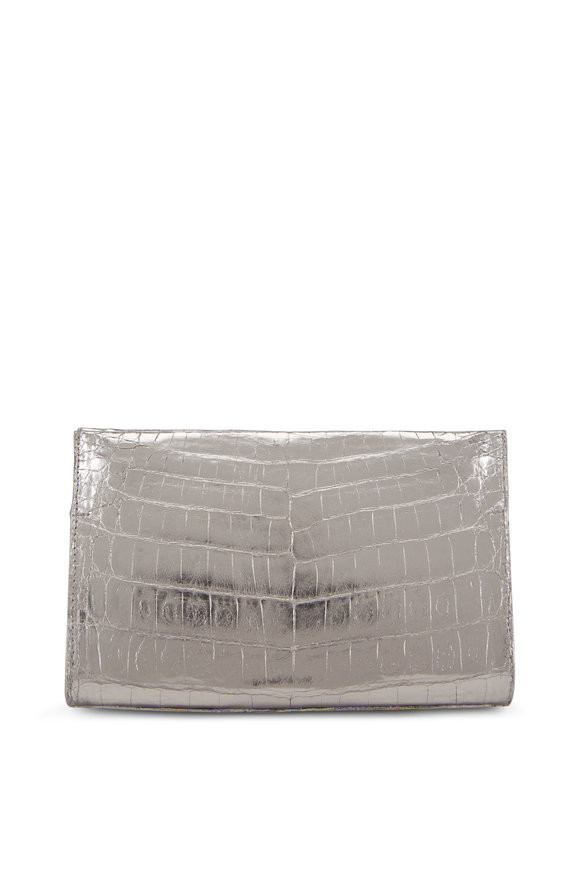 Nancy Gonzalez Anthracite Crocodile Pyramid Clutch