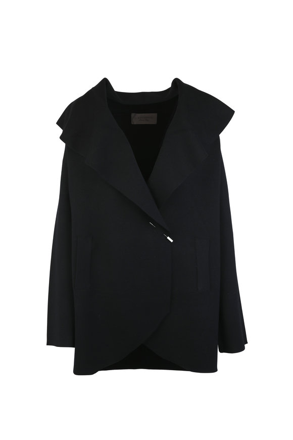 D.Exterior Black Double Faced Wool Knit Coat