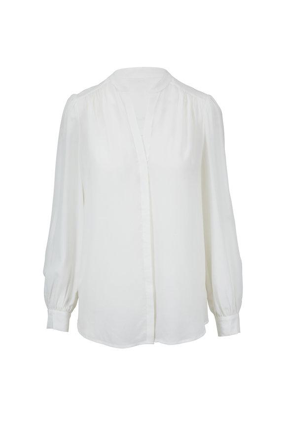 L'Agence Raquel Ivory Silk Button Back Blouse