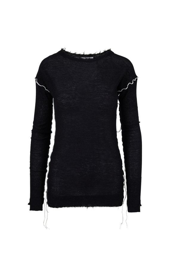 Helmut Lang Black Cashmere Coverstitch Crewneck Sweater