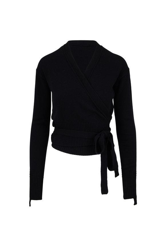 Helmut Lang Black Cashmere Wrap Cardigan
