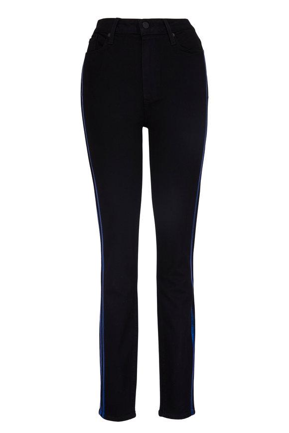 Paige Denim Hoxton Black & Electric Blue Tuxedo Stripes Jean