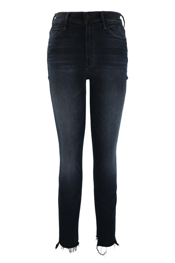 Mother Denim Stunner Black Ankle Step Fray Jean