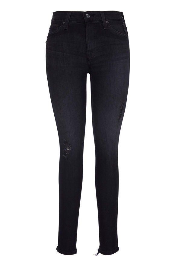 AG - Adriano Goldschmied Farrah Black Ankle Tattered Hem Jean