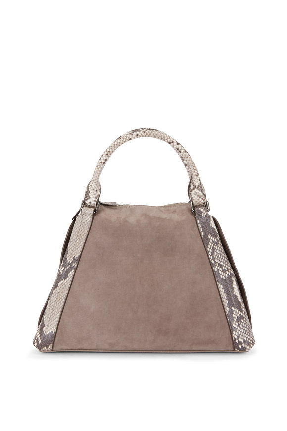 Akris Aimee Taupe Suede & Leather & Python Shoulder Bag