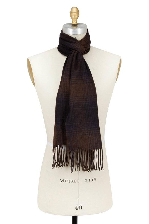 Brioni Brown Silk & Cashmere Plaid Scarf