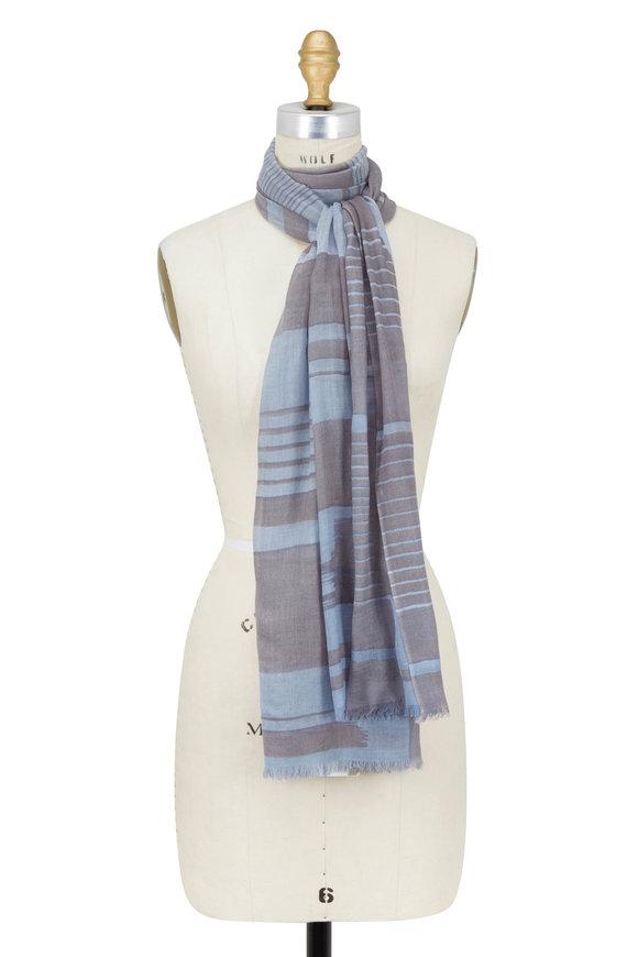 Kinross Arctic Cashmere & Silk Brushwork Printed Scarf