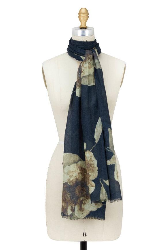 Kinross Honey Cashmere & Silk Autumn Bloom Printed Scarf