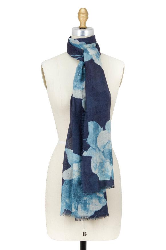 Kinross Inkwell Cashmere & Silk Autumn Bloom Print Scarf