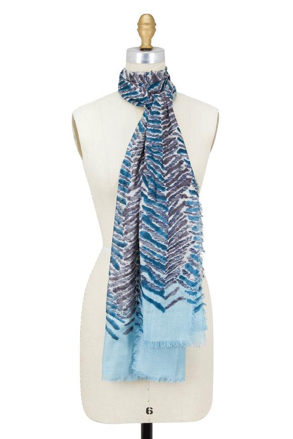 Kinross Balsam Multi Tiger Stripe Cashmere & Silk Scarf