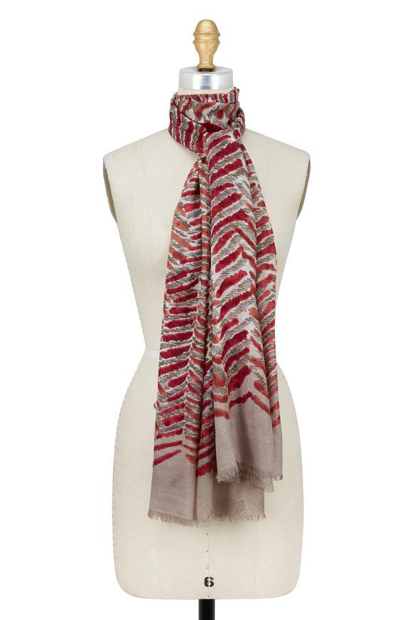 Kinross Sienna Cashmere & Silk Tiger Stripe Printed Scarf