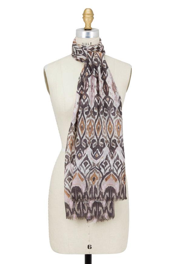 Kinross Ballet Slipper Tapestry Ikat Printed Scarf