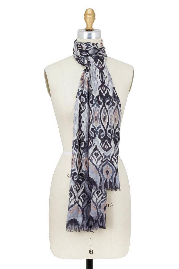 Kinross Black Cashmere & Silk Ikat Printed Scarf
