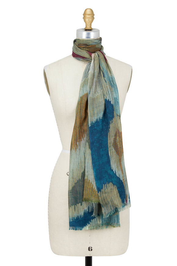Kinross Balsam Multi Etched Ikat Print Wool Scarf