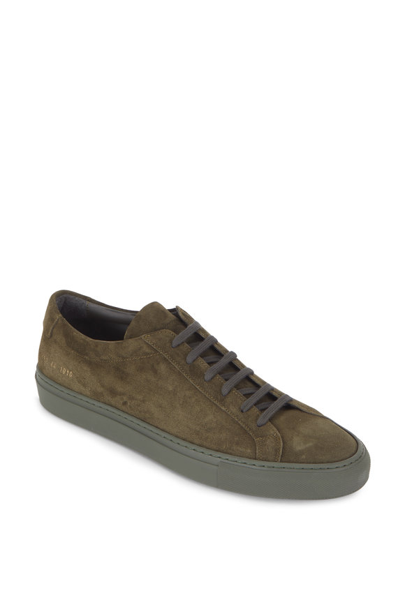 Common Projects  Achilles Olive Green Suede Low Top Sneaker