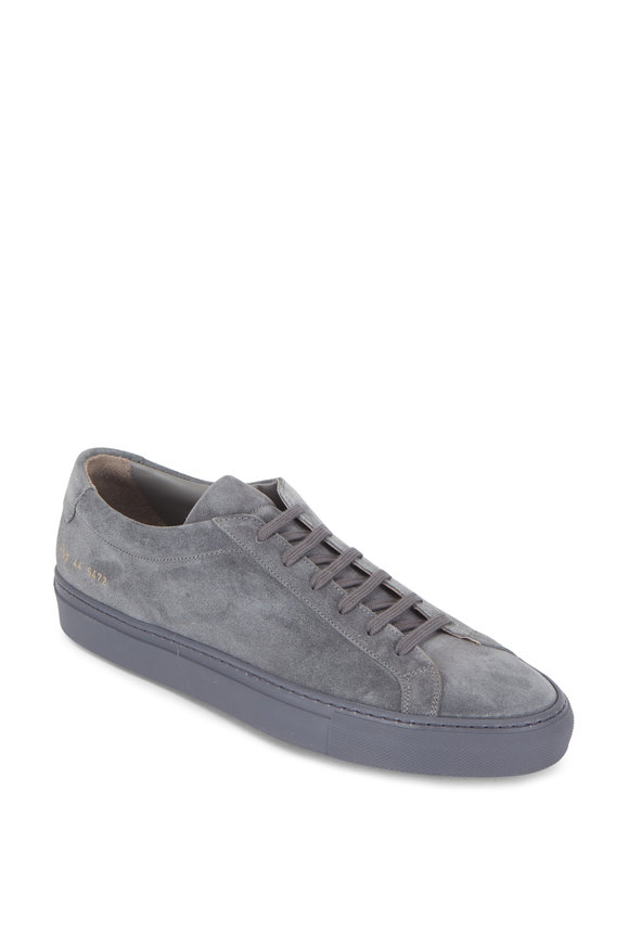 Common Projects Achilles Charcoal Gray Suede Low Top Sneaker