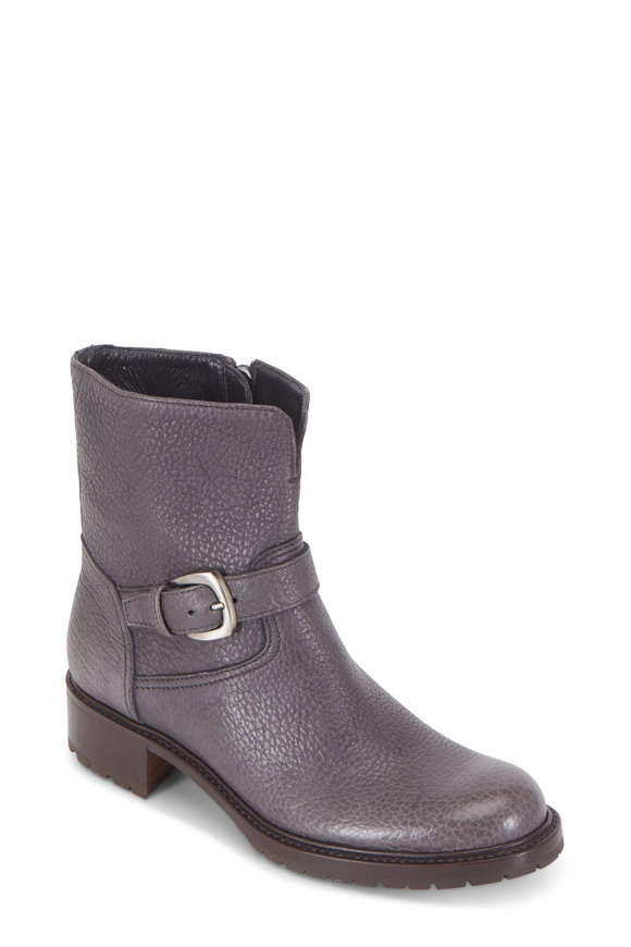 Gravati Anthracite Grained Leather Buckle Short Boot