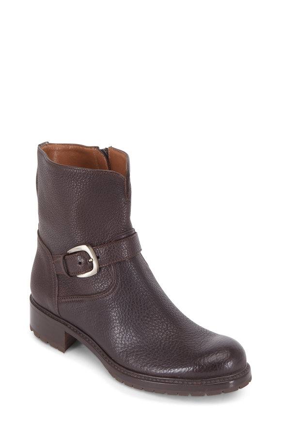 Gravati Dark Brown Grained Leather Buckle Short Boot