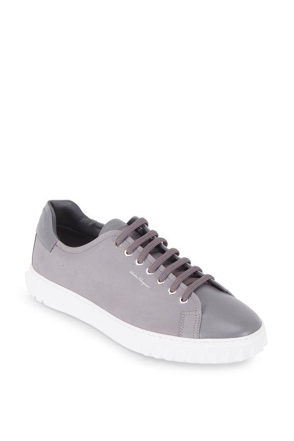 Salvatore Ferragamo Cube Gray Melange Leather & Suede Sneaker