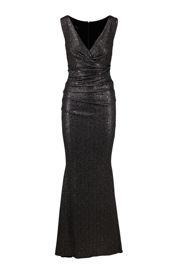 Talbot Runhof Bossa2 Metallic Black Sleeveless Gown
