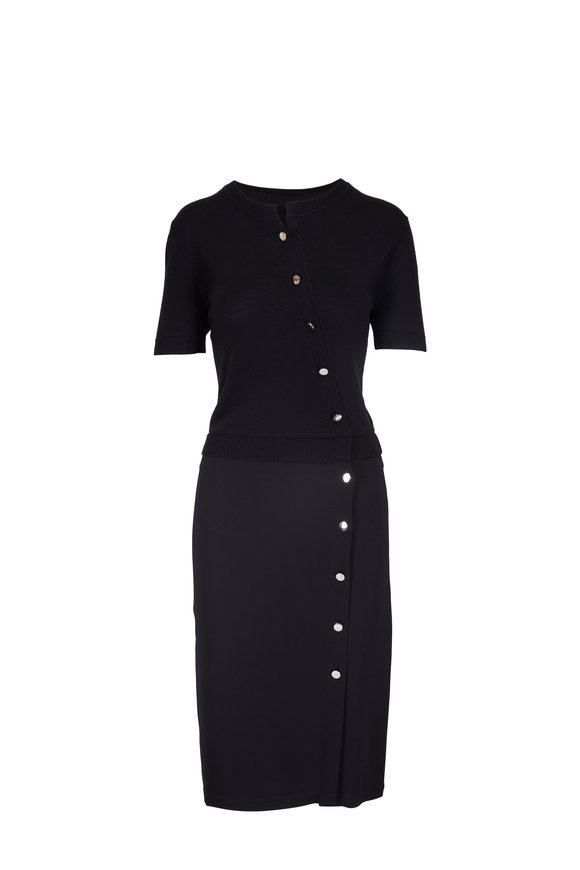 Altuzarra Black Asymmetric Button Down Dress