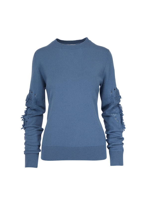 Barrie Blue Crewneck Sleeve Detail Sweater