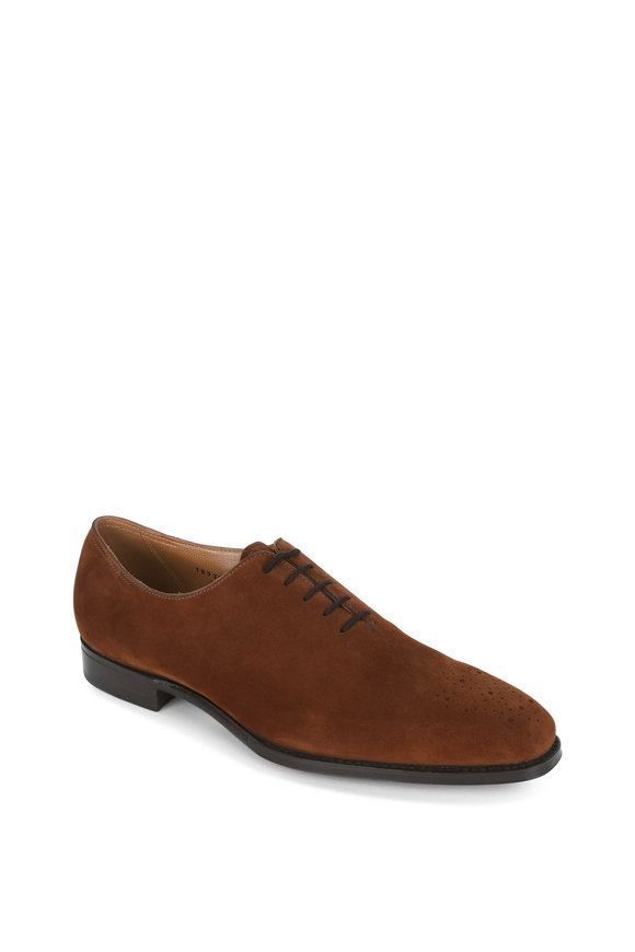 Gravati Dark Brown Suede Medallion Dress Shoe