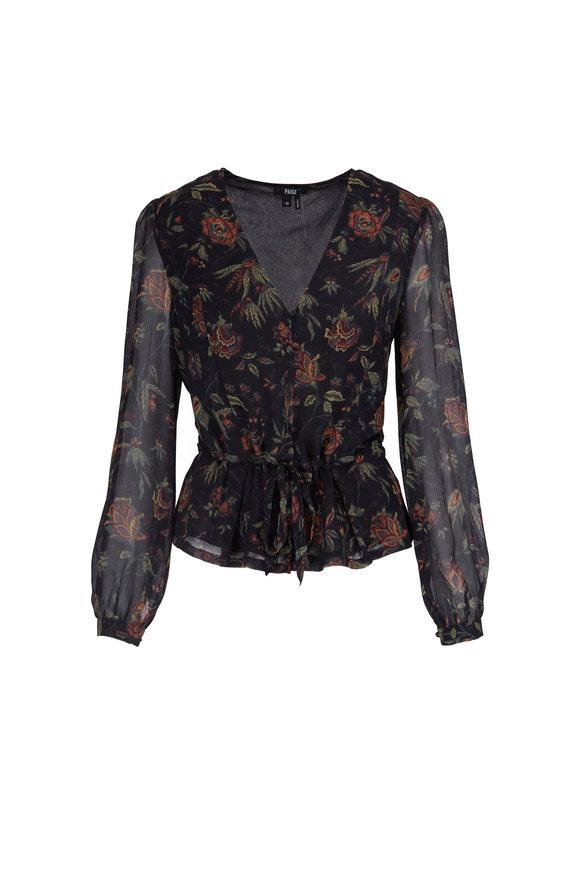 Paige Denim Cameron Black Silk Floral Blouse